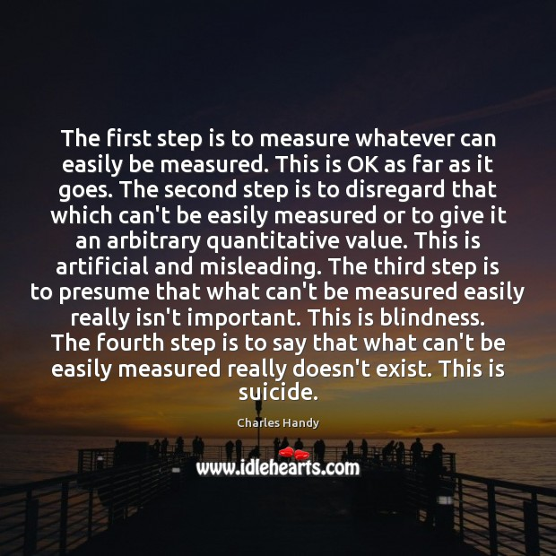 The first step is to measure whatever can easily be measured. This Image