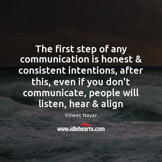 The first step of any communication is honest & consistent intentions, after this, Image