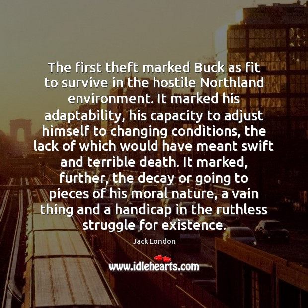 The first theft marked Buck as fit to survive in the hostile Jack London Picture Quote
