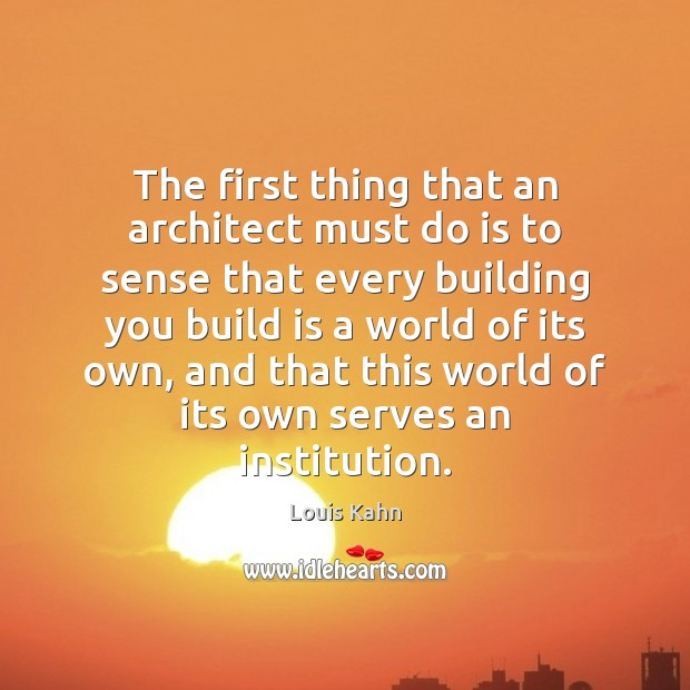 Image, The first thing that an architect must do is to sense that