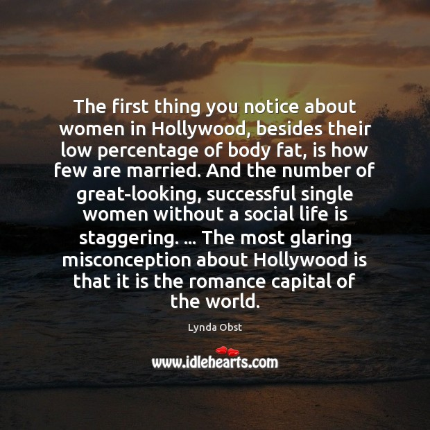 The first thing you notice about women in Hollywood, besides their low Image