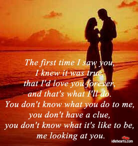 The First Time I Saw You, I Knew I I'd Love You Forever