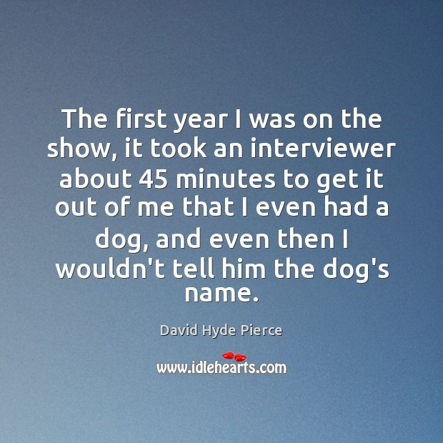 The first year I was on the show, it took an interviewer Image