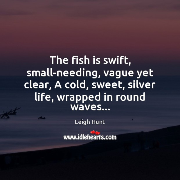 The fish is swift, small-needing, vague yet clear, A cold, sweet, silver Image