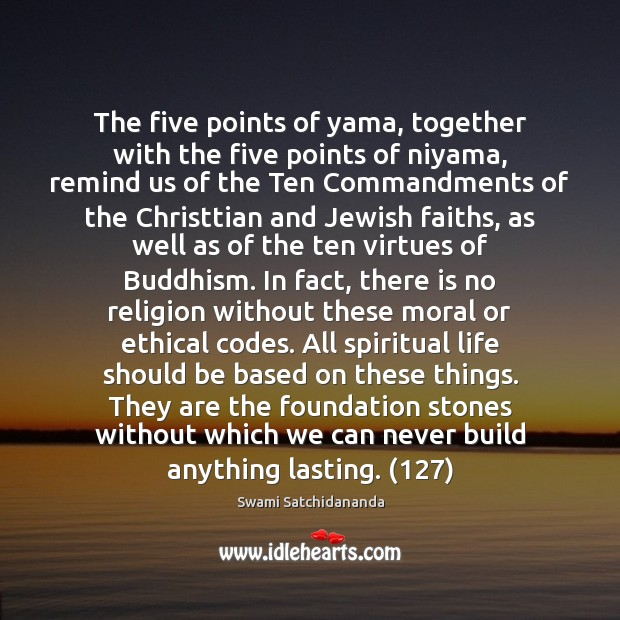 Image, The five points of yama, together with the five points of niyama,