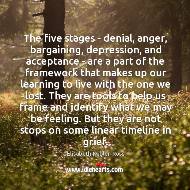 Image, The five stages – denial, anger, bargaining, depression, and acceptance – are