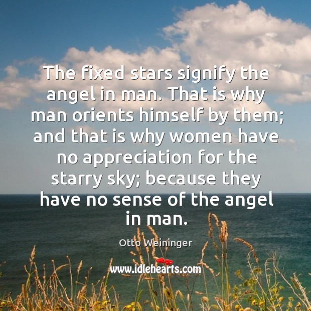 The fixed stars signify the angel in man. That is why man orients himself by them Otto Weininger Picture Quote