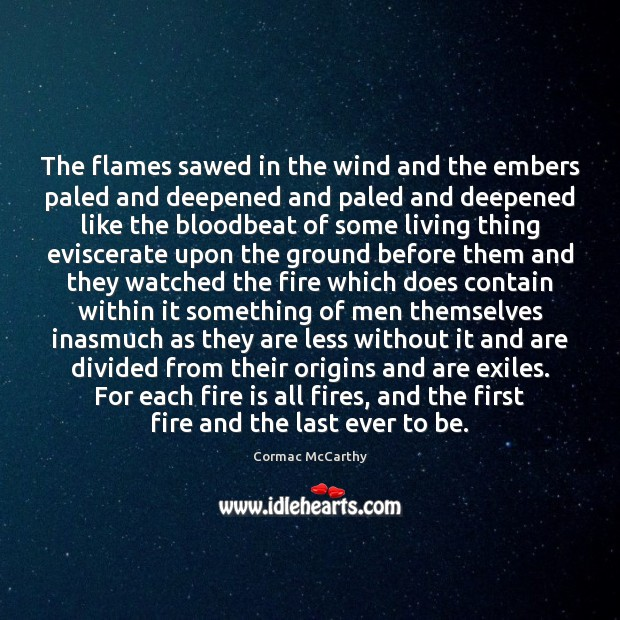 Image, The flames sawed in the wind and the embers paled and deepened