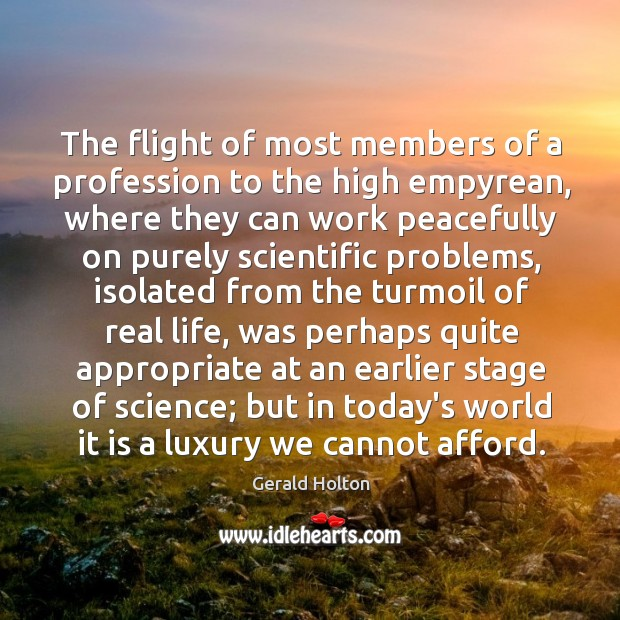 The flight of most members of a profession to the high empyrean, Image