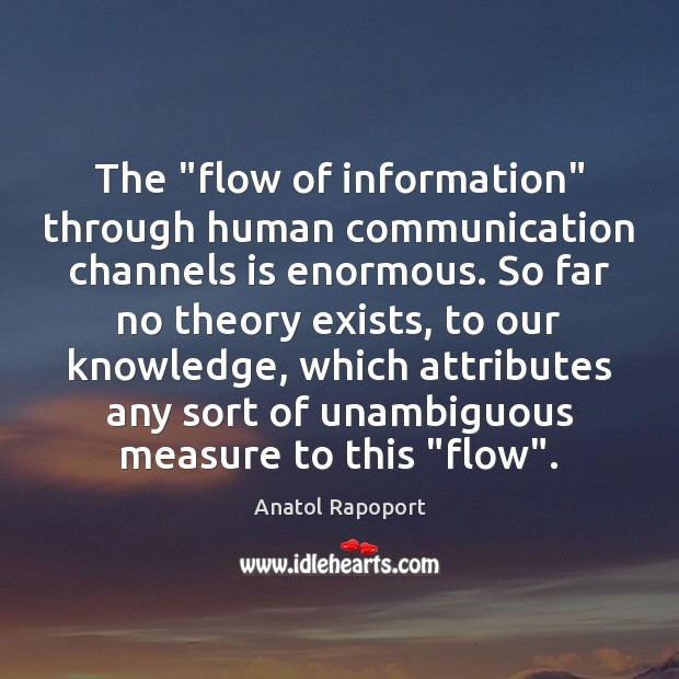 "Image, The ""flow of information"" through human communication channels is enormous. So far"