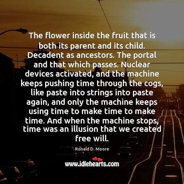 Image, The flower inside the fruit that is both its parent and its