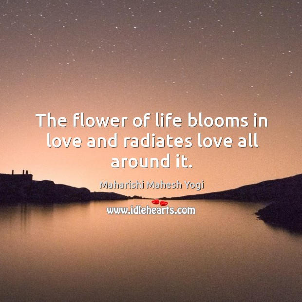 The flower of life blooms in love and radiates love all around it. Image