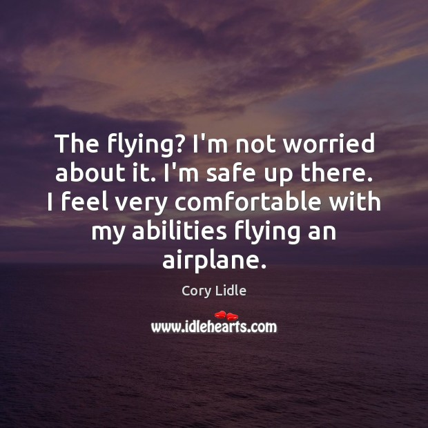 The flying? I'm not worried about it. I'm safe up there. I Image
