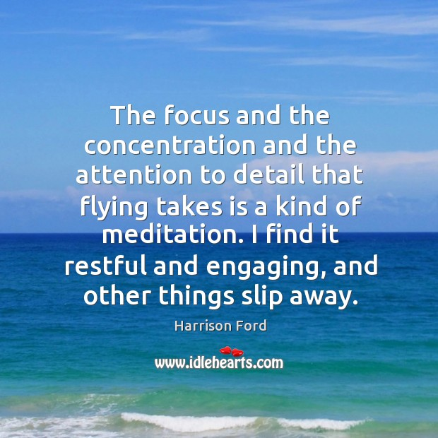 Image, The focus and the concentration and the attention to detail that flying takes is a kind of meditation.