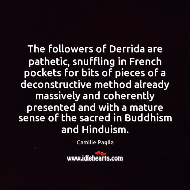 The followers of Derrida are pathetic, snuffling in French pockets for bits Image