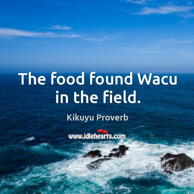 The food found wacu in the field. Kikuyu Proverbs Image