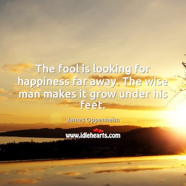 Image, The fool is looking for happiness far away. The wise man makes it grow under his feet.