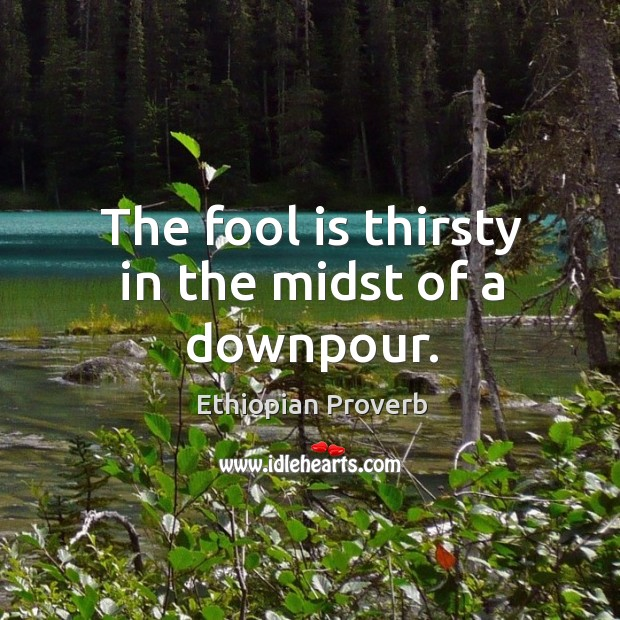 The fool is thirsty in the midst of a downpour. Ethiopian Proverbs Image
