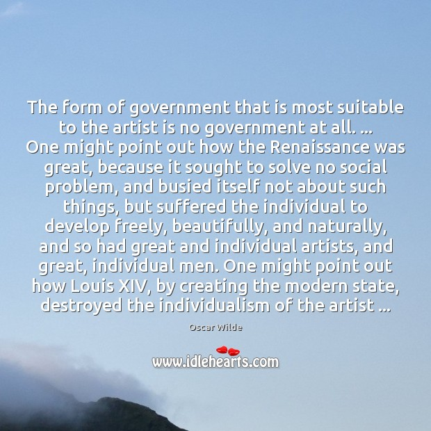 Image, The form of government that is most suitable to the artist is