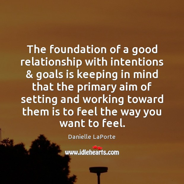 The foundation of a good relationship with intentions & goals is keeping in Image