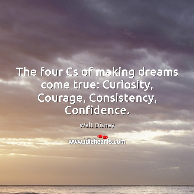 The four Cs of making dreams come true: Curiosity, Courage, Consistency, Confidence. Image