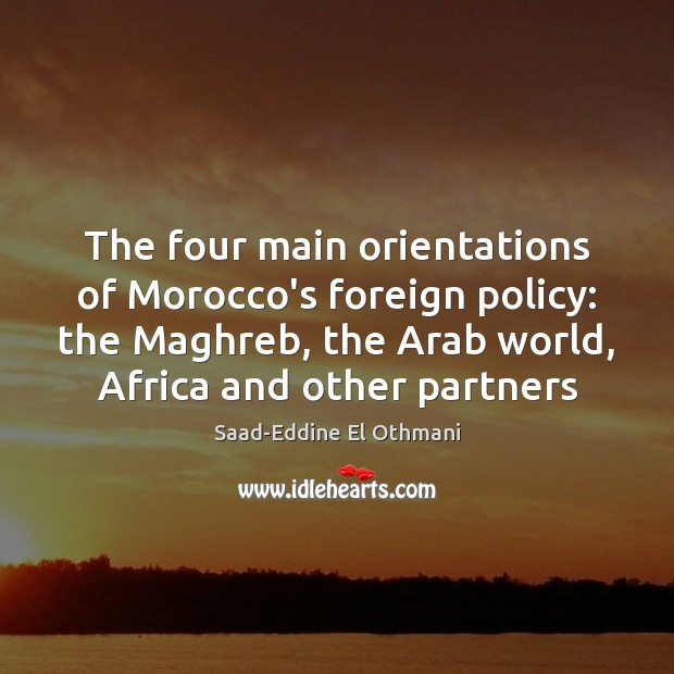 The four main orientations of Morocco's foreign policy: the Maghreb, the Arab Image