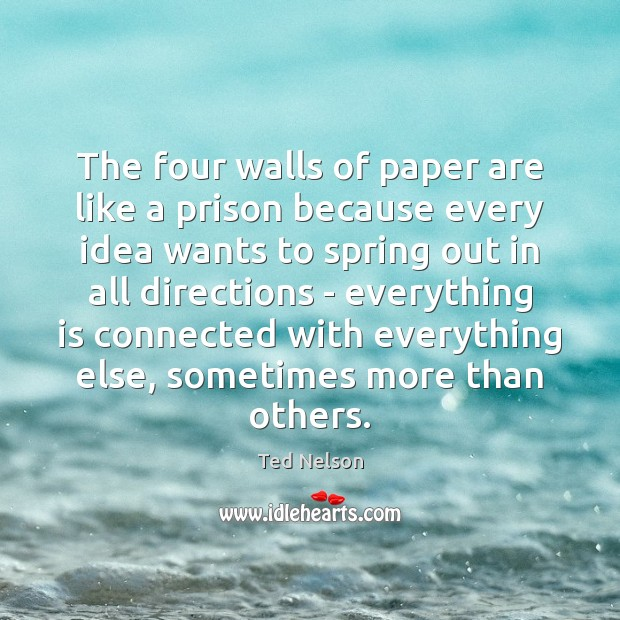 The four walls of paper are like a prison because every idea Image