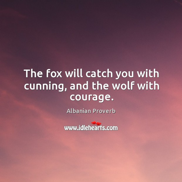 The fox will catch you with cunning, and the wolf with courage. Albanian Proverbs Image