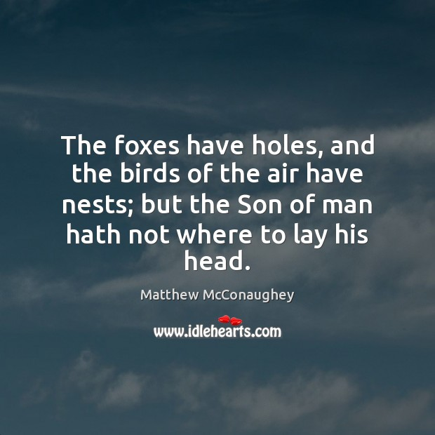 Image, The foxes have holes, and the birds of the air have nests;