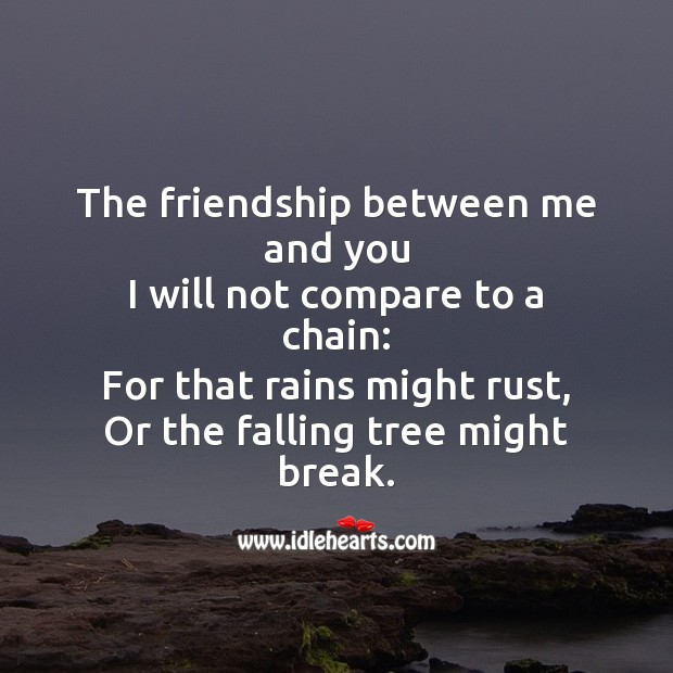 The friendship between me and you will not compare to a chain Friendship Day Messages Image