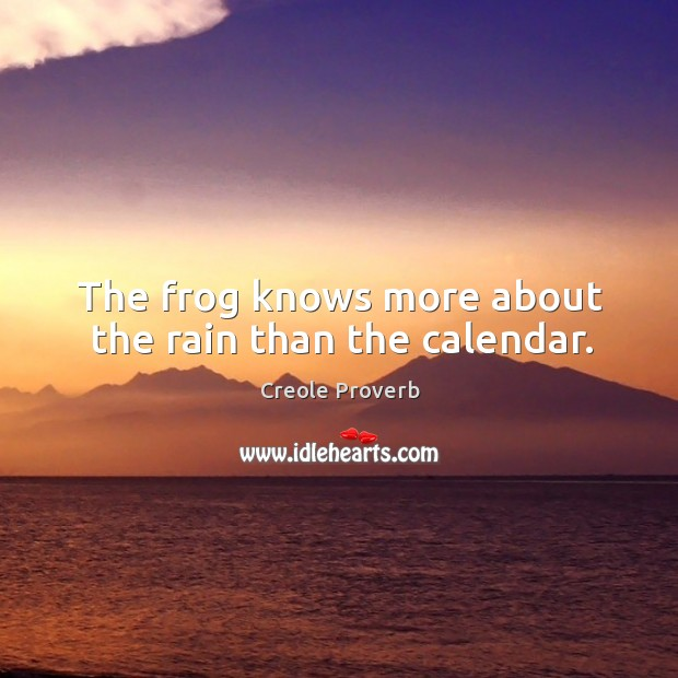 The frog knows more about the rain than the calendar. Creole Proverbs Image