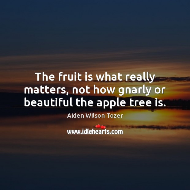 Image, The fruit is what really matters, not how gnarly or beautiful the apple tree is.