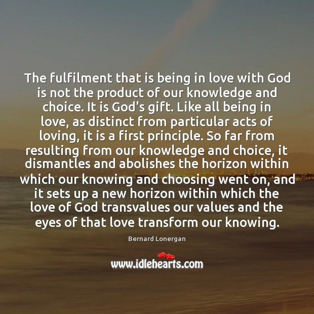 Image, The fulfilment that is being in love with God is not the