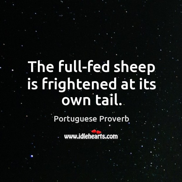 The full-fed sheep is frightened at its own tail. Image
