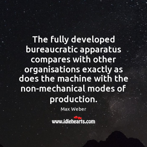 The fully developed bureaucratic apparatus compares with other organisations exactly as does Image