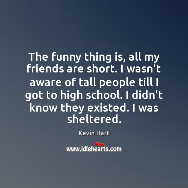 Image, The funny thing is, all my friends are short. I wasn't aware