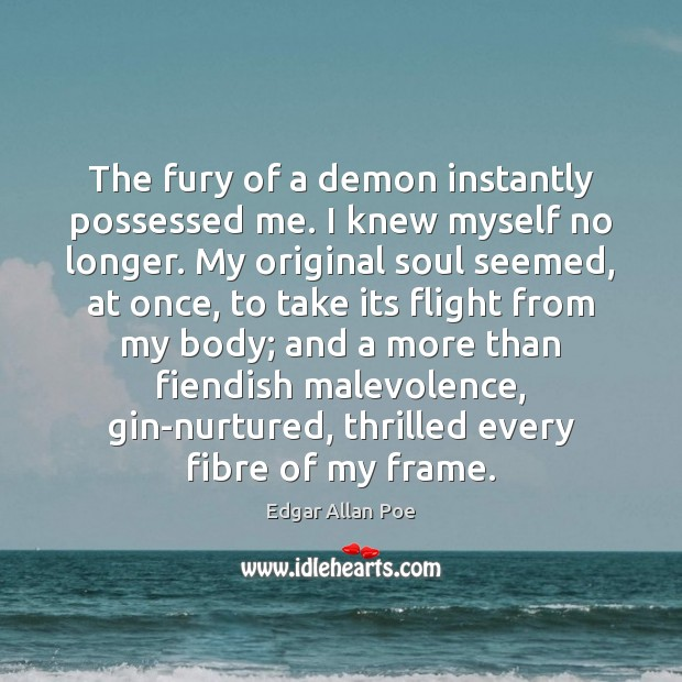 The fury of a demon instantly possessed me. I knew myself no Edgar Allan Poe Picture Quote