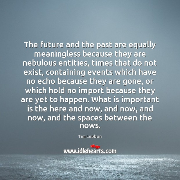 The future and the past are equally meaningless because they are nebulous Image