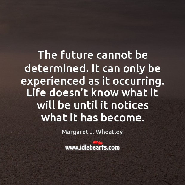 The future cannot be determined. It can only be experienced as it Margaret J. Wheatley Picture Quote