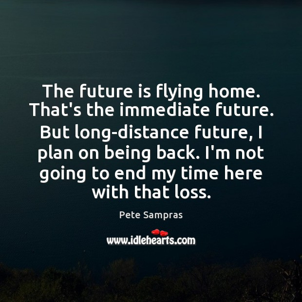 The future is flying home. That's the immediate future. But long-distance future, Image