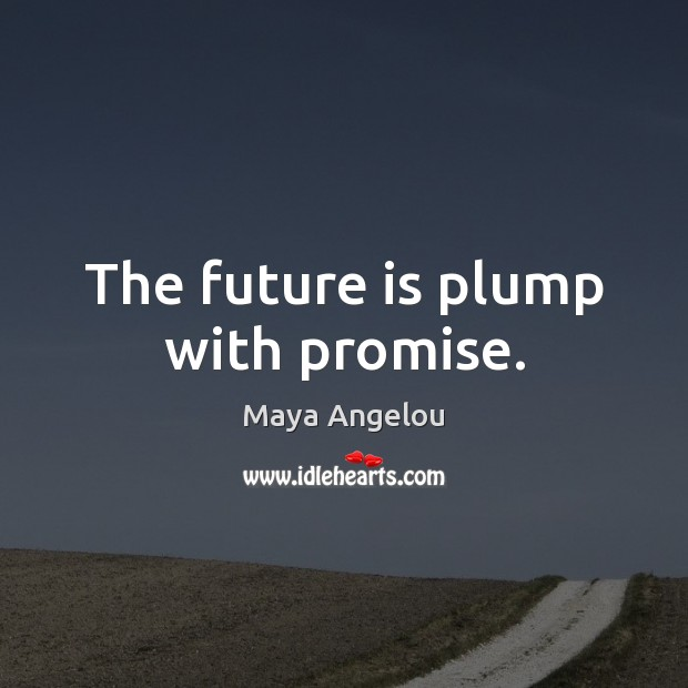 The future is plump with promise. Maya Angelou Picture Quote