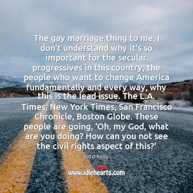 The gay marriage thing to me, I don't understand why it's so Image