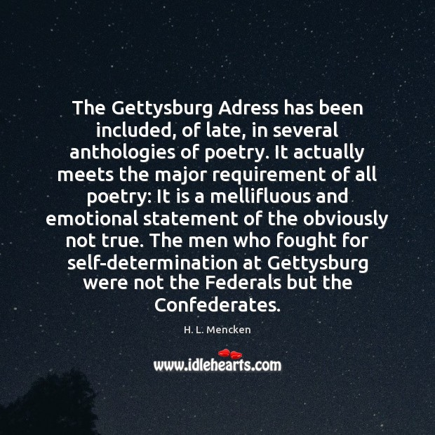 Image, The Gettysburg Adress has been included, of late, in several anthologies of