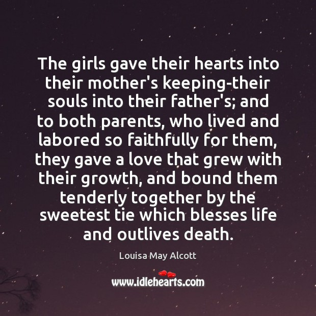 Image, The girls gave their hearts into their mother's keeping-their souls into their
