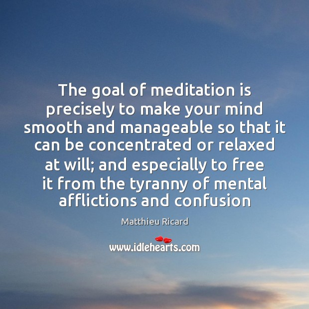 The goal of meditation is precisely to make your mind smooth and Matthieu Ricard Picture Quote