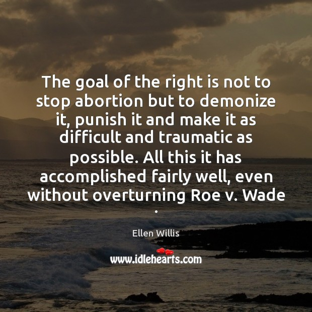 The goal of the right is not to stop abortion but to Image