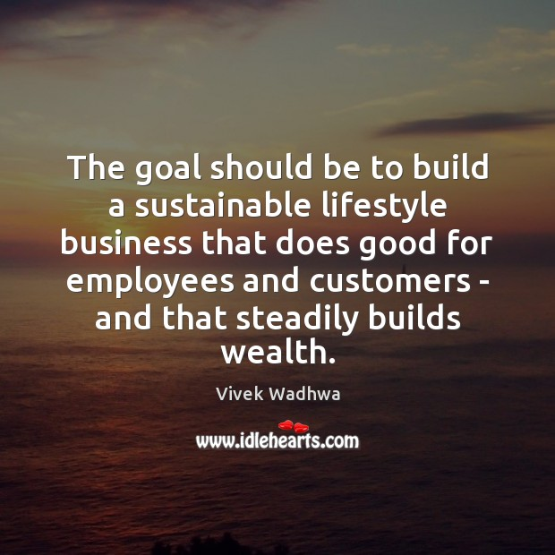 The goal should be to build a sustainable lifestyle business that does Vivek Wadhwa Picture Quote