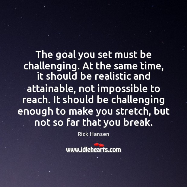 The goal you set must be challenging. At the same time, it Image