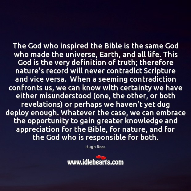 The God who inspired the Bible is the same God who made Image