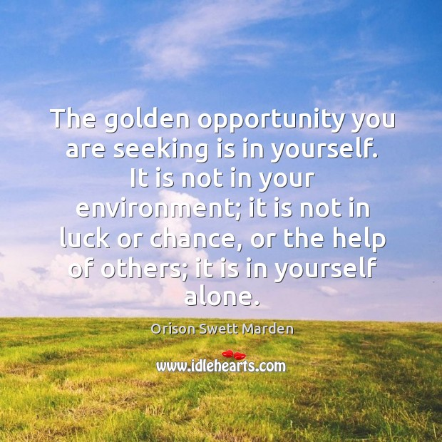 The golden opportunity you are seeking is in yourself. Image